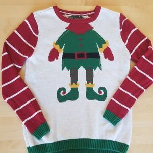 Ugly Christmas Sweater Elf Holiday Knit Sweater